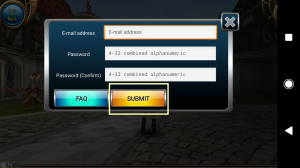 """Enter your """"E-mail Address"""" and """"Password"""". Then, tap """"Submit""""."""
